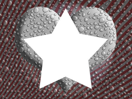 White five points star over a silver heart and striped background with water drops photo