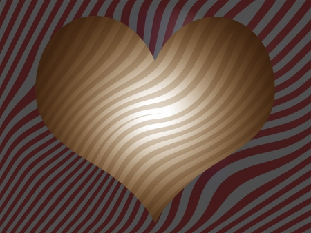 Brown striped heart over red and grey stripes background photo