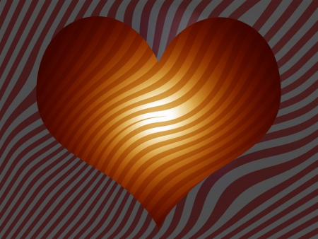 Golden heart over striped pattern background photo