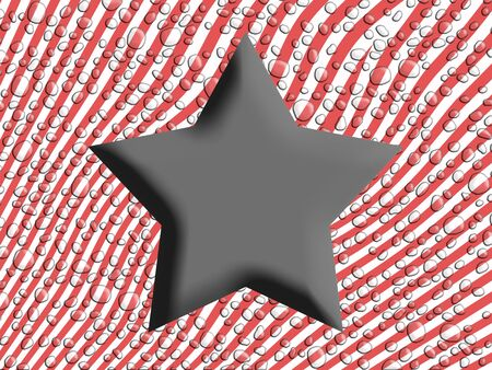 Five points success star over striped background in red and white stripes photo