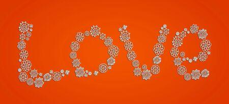 digitals: Love, crochet, orange, backdrop, word, letters Stock Photo