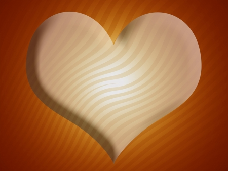 Heart shape as background with stripes in warm yellowish tones Stock Photo - 13720219