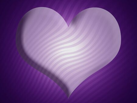 Lilac heart over violet background with zebra striped pattern photo