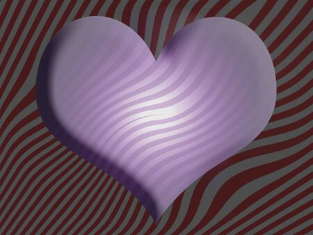 Lilac luminous sober heart over striped background in red and grey photo