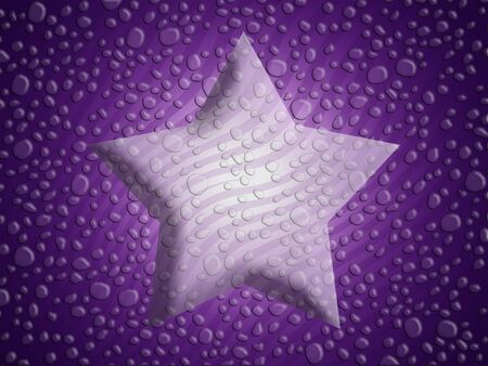 Purple background with a 3d success star with stripes and water drops Stock Photo - 13690167