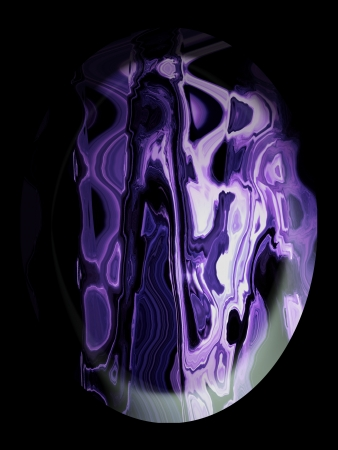 purpleish: Beautiful stone with abstract design over black Stock Photo