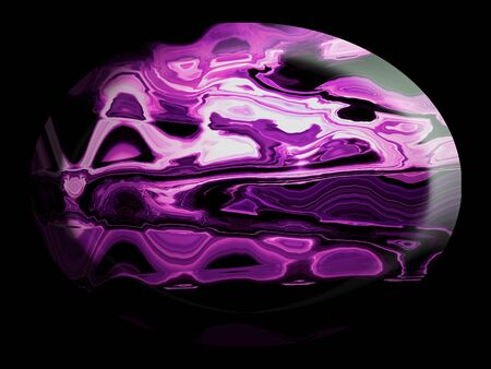 purpleish: Oval stone with curved lines on black background Stock Photo