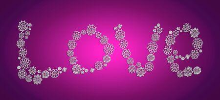 digitals: Love word in white crochet circles over luminous purple