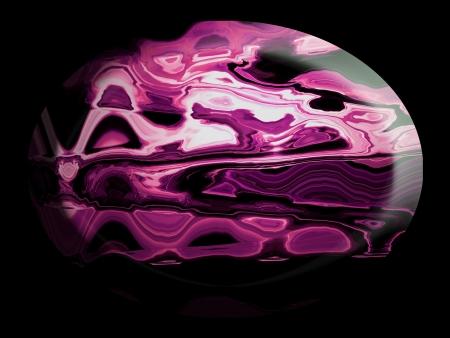spherized: Pink purple oval elegant stone on black Stock Photo