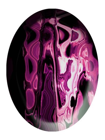 purpleish: Oval cabochon of pink agate stone isolated on white Stock Photo