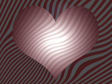 Sober pink hert over zebra pattern background in grey and red photo