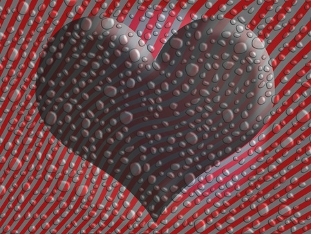 Heart on striped background in red and grey with water drops photo