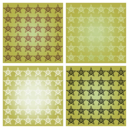 Stars on sober olive green background mosaic of patterns photo