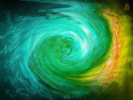 Blue aqua and yellow orange coloured waters swirl in abstract background