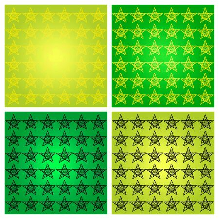 Yellow and black stars over green backgrounds photo