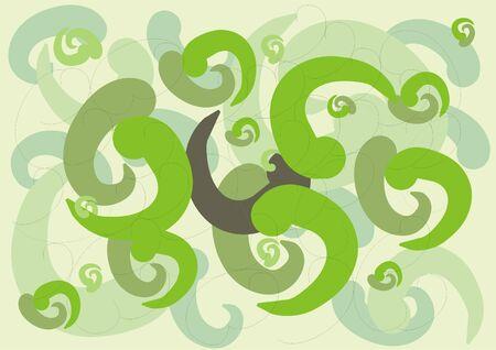 gamma: Resumen de antecedentes con curvas en forma de gamma verde Foto de archivo