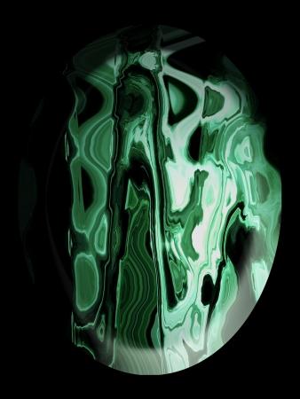 cabochon: Verde malachite cabochon in pietra su nero