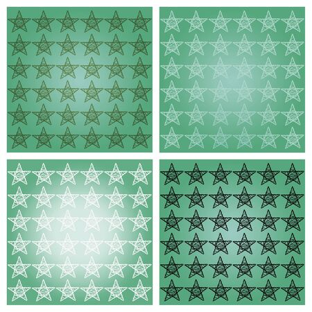 Sober green four starry backgrounds with white and black stars photo