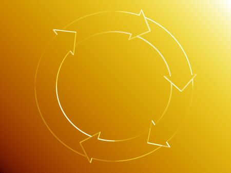 Subtle elegant circle of system of light and arrows over gold yellow background photo