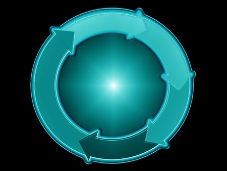 ciclos: Bola azul y el sistema circulatorio de las flechas que lo rodean
