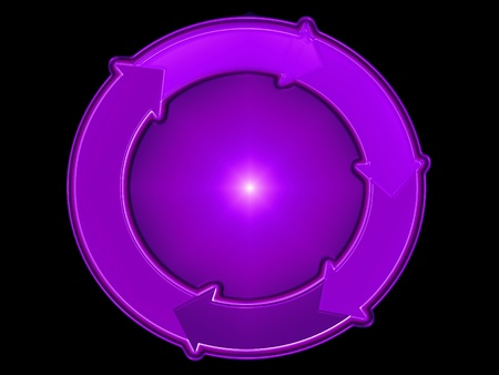 Purple 3d ball and circle of arrows, circulate, recycle Stock Photo - 13815549
