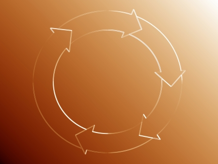 rotations: Subtle flow diagram of a circle with arrows over orange golden background