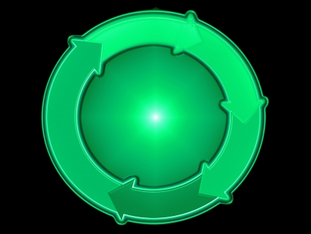 Green eco graphical representation in a circle with arrows isolated on black photo