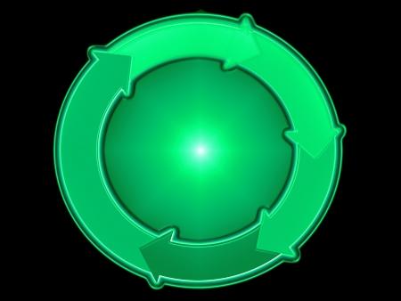 cycles: Green eco repr�sentation graphique dans un cercle avec des fl�ches isol� sur noir Banque d'images