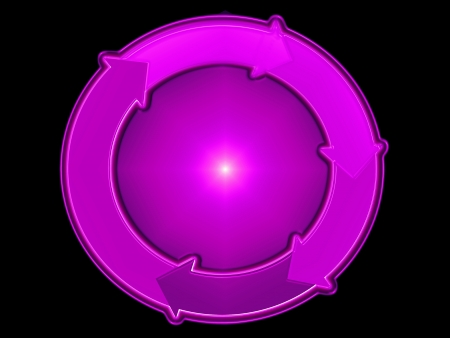 clockwise: Pink purple flow diagram with clockwise arrows around a circular sphere Stock Photo