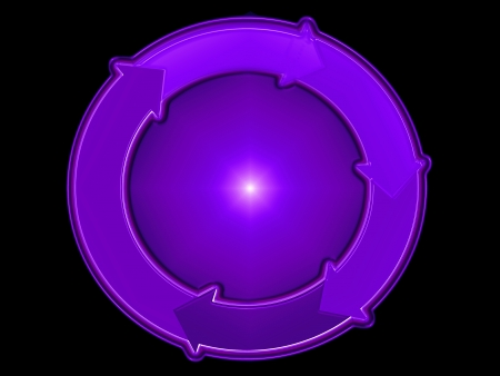 purpleish: Indigo purple sphere  with a flowing circle over black background Stock Photo