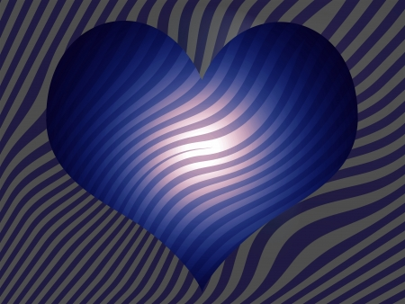 Blue heart with soft pink light and stripes
