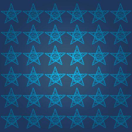 Cian five points stars pattern over dark marine blue backdrop Stock Photo - 13792457