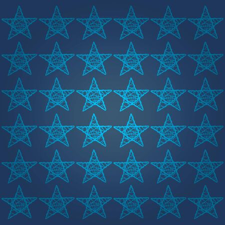 cian: Cian five points stars pattern over dark marine blue backdrop Stock Photo