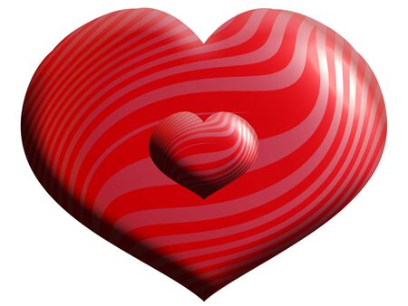 Red metallic heart balloons one big other small isolated on white photo