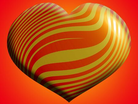 Orange and yellow stripes in a heart metallic balloon photo