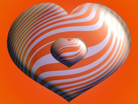 Two brilliant hearts striped balloons over orange photo
