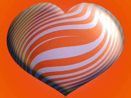 Big orange and silver balloon with heart shape for Halloween party Stock Photo - 13792430