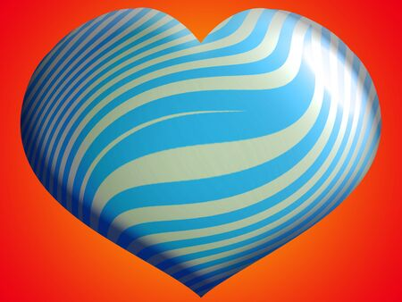 Blue balloon for a boy with heart shape over warm orange background photo