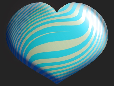 White and light blue heart balloon isolated over black photo