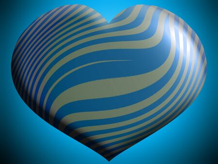metallized: Blue and silver metallized party heart balloon Stock Photo