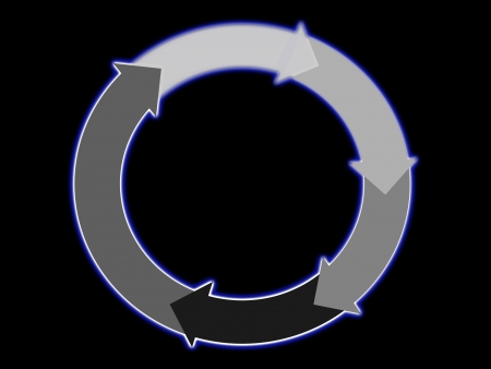 Grey and blue circle of arrows flowing clockwise isolated over black Stock Photo - 13838115