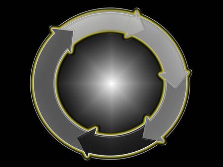 sobrio: Bola de plata 3d Sober con un anillo de flechas de rotaci�n