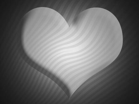 sobrio: De fondo blanco y negro sobrio, con un coraz�n con las rayas Foto de archivo
