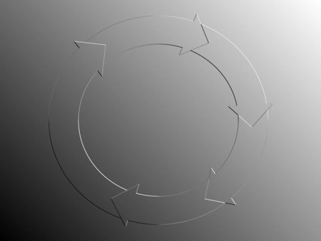 Sober discrete circle of cycle with arrows in silver or grey metallic background photo