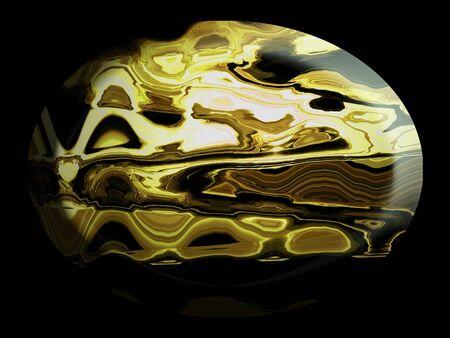 spherized: Yellow Jasper cabochon stone like 3d button over black Stock Photo