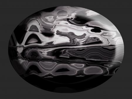 spherized: Sober oval 3d silver cabochon stone  Stock Photo