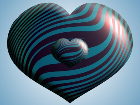 cupper: Heart, cupper, copper, cian, blue, metallic, balloon, balloons Stock Photo