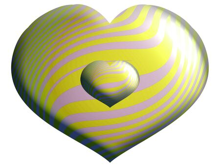 Yellow and white metallic isolated heart balloons  Stock Photo - 13839032