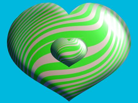 Green striped heart balloons over blue photo