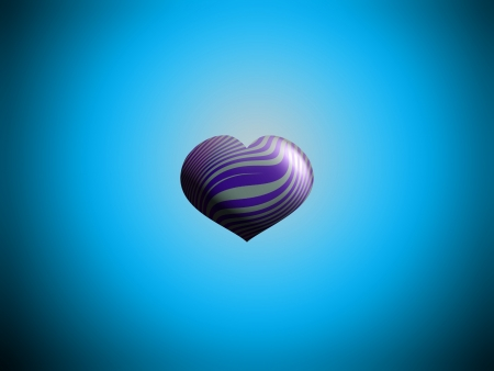 Little heart helium metallized striped violet and silver balloon in blue sky photo